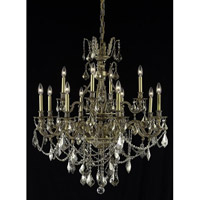 Elegant Lighting Monarch 12 Light Dining Chandelier in French Gold with Swarovski Strass Golden Teak Crystal 9612D35FG-GT/SS