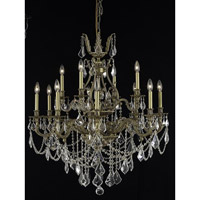 Elegant Lighting Monarch 12 Light Dining Chandelier in French Gold with Elegant Cut Clear Crystal 9612D35FG/EC