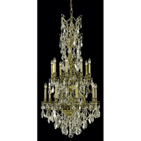 Elegant Lighting Monarch 16 Light Dining Chandelier in Antique Bronze with Royal Cut Golden Shadow Crystal 9616D27AB-GS/RC