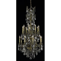 Elegant Lighting Monarch 16 Light Dining Chandelier in Antique Bronze with Royal Cut Silver Shade Crystal 9616D27AB-SS/RC