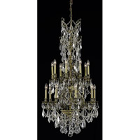 Elegant Lighting Monarch 16 Light Dining Chandelier in Antique Bronze with Elegant Cut Clear Crystal 9616D27AB/EC