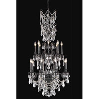 Elegant Lighting Monarch 16 Light Dining Chandelier in Dark Bronze with Elegant Cut Clear Crystal 9616D27DB/EC