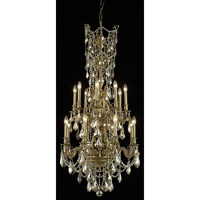Elegant Lighting Monarch 16 Light Dining Chandelier in French Gold with Swarovski Strass Golden Teak Crystal 9616D27FG-GT/SS