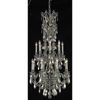 Elegant Lighting Monarch 16 Light Dining Chandelier in Pewter with Swarovski Strass Golden Teak Crystal 9616D27PW-GT/SS