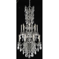 Elegant Lighting Monarch 16 Light Dining Chandelier in Pewter with Elegant Cut Clear Crystal 9616D27PW/EC