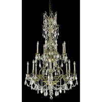 Elegant Lighting Monarch 16 Light Foyer in Antique Bronze with Royal Cut Golden Shadow Crystal 9616G37AB-GS/RC