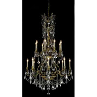 Elegant Lighting Monarch 16 Light Foyer in Antique Bronze with Swarovski Strass Silver Shade Crystal 9616G37AB-SS/SS