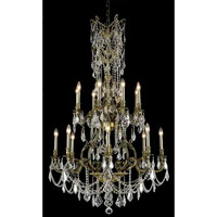 Elegant Lighting Monarch 16 Light Foyer in Antique Bronze with Elegant Cut Clear Crystal 9616G37AB/EC