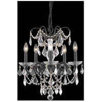 Elegant Lighting Athena 5 Light Pendant in Dark Bronze with Elegant Cut Clear Crystal 9705D18DB/EC