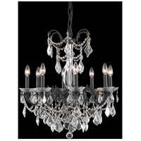 Elegant Lighting Athena 8 Light Dining Chandelier in Dark Bronze with Elegant Cut Clear Crystal 9708D24DB/EC