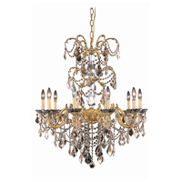Elegant Lighting 9710D29FG-GT/SS Athena 10 Light 29 inch French Gold Dining Chandelier Ceiling Light in Golden Teak, Swarovski Strass