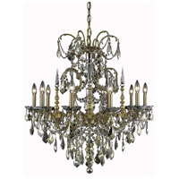 Elegant Lighting Athena 10 Light Dining Chandelier in French Gold with Swarovski Strass Golden Teak Crystal 9710D30FG-GT/SS