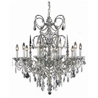 Elegant Lighting Athena 10 Light Dining Chandelier in Pewter with Swarovski Strass Golden Teak Crystal 9710D30PW-GT/SS