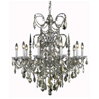 Elegant Lighting Athena 10 Light Dining Chandelier in Pewter with Elegant Cut Clear Crystal 9710D30PW/EC