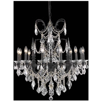Elegant Lighting Athena 12 Light Dining Chandelier in Dark Bronze with Elegant Cut Clear Crystal 9712D32DB/EC