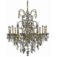 Athena 12 Light 32 inch French Gold Dining Chandelier Ceiling Light in Golden Teak, Swarovski Strass