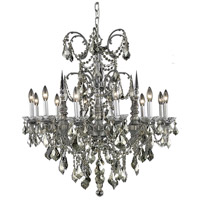 Elegant Lighting Athena 12 Light Dining Chandelier in Pewter with Swarovski Strass Golden Teak Crystal 9712D32PW-GT/SS