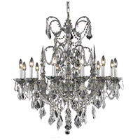 Elegant Lighting Athena 12 Light Dining Chandelier in Pewter with Elegant Cut Clear Crystal 9712D32PW/EC