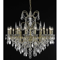 Elegant Lighting Athena 16 Light Foyer in French Gold with Elegant Cut Clear Crystal 9716G35FG/EC