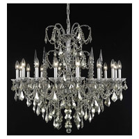 Elegant Lighting Athena 16 Light Foyer in Pewter with Swarovski Strass Golden Teak Crystal 9716G35PW-GT/SS