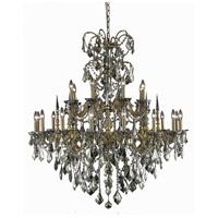 Athena 24 Light 44 inch French Gold Foyer Ceiling Light in Golden Teak, Swarovski Strass