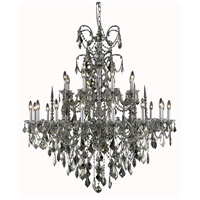 Athena 24 Light 44 inch Pewter Foyer Ceiling Light in Golden Teak, Swarovski Strass