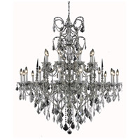 Elegant Lighting Athena 24 Light Foyer in Pewter with Swarovski Strass Clear Crystal 9724G44PW/SS