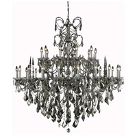 Elegant Lighting Athena 30 Light Foyer in Pewter with Swarovski Strass Golden Teak Crystal 9730G53PW-GT/SS