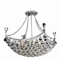 Elegant Lighting Corona 8 Light Dining Chandelier in Chrome with Elegant Cut Clear Crystal 9800D20C/EC