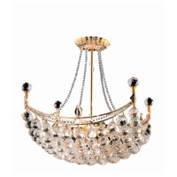 Elegant Lighting Corona 8 Light Dining Chandelier in Gold with Swarovski Strass Clear Crystal 9800D20G/SS