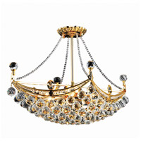 Elegant Lighting Corona 6 Light Dining Chandelier in Gold with Swarovski Strass Clear Crystal 9800D24G/SS