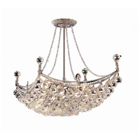 Elegant Lighting Corona 8 Light Dining Chandelier in Chrome with Swarovski Strass Clear Crystal 9800D28C/SS