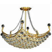 Elegant Lighting Corona 8 Light Dining Chandelier in Gold with Swarovski Strass Clear Crystal 9800D28G/SS