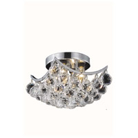 Corona 4 Light 10 inch Chrome Flush Mount Ceiling Light in Elegant Cut