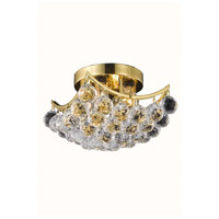 Elegant Lighting Corona 4 Light Flush Mount in Gold with Swarovski Strass Clear Crystal 9800F10G/SS