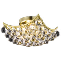 Elegant Lighting Corona 4 Light Flush Mount in Gold with Swarovski Strass Clear Crystal 9800F12G/SS