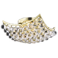 Elegant Lighting Corona 4 Light Flush Mount in Gold with Swarovski Strass Clear Crystal 9800F14G/SS