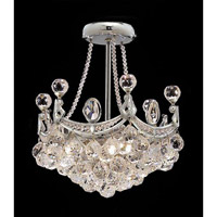 Elegant Corona 3 Light Pendant in Chrome with Crystal (Clear) Royal Cut Crystals 9801D10C/RC