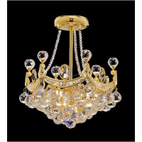 Elegant Corona 3 Light Pendant in Gold with Crystal (Clear) Royal Cut Crystals 9801D10G/RC