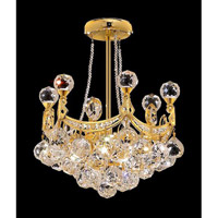 Elegant Corona 4 Light Pendant in Gold with Crystal (Clear) Elegant Cut Crystals 9801D14G/EC