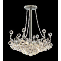 Elegant Corona 6 Light Pendant in Chrome with Crystal (Clear) Royal Cut Crystals 9801D18C/RC