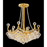 Elegant Corona 6 Light Pendant in Gold with Crystal (Clear) Elegant Cut Crystals 9801D18G/EC