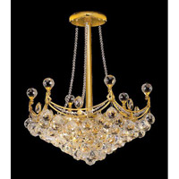 Elegant Corona 6 Light Pendant in Gold with Crystal (Clear) Royal Cut Crystals 9801D20G/RC