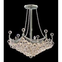 Elegant Corona 8 Light Pendant in Chrome with Crystal (Clear) Royal Cut Crystals 9801D24C/RC