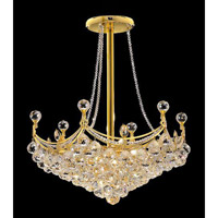 Elegant Corona 8 Light Pendant in Gold with Crystal (Clear) Royal Cut Crystals 9801D24G/RC