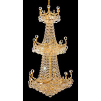 Elegant Corona 20 Light Chandelier in Gold with Crystal (Clear) Royal Cut Crystals 9801G24G/RC