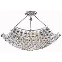 Elegant Lighting Corona 12 Light Dining Chandelier in Chrome with Elegant Cut Clear Crystal 9802D30C/EC