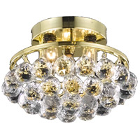 Elegant Lighting Corona 3 Light Flush Mount in Gold with Royal Cut Clear Crystal 9805F10G/RC