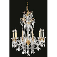 Elegant Lighting Imperia 10 Light Chandelier in French Gold with Swarovski Elements Clear Crystal 9810D30FG/SS