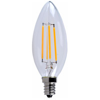 LED Filament Candelabra LED LED Filament Candelabra E12 4.5 watt 2700K Bulb in Blunt Tip, Blunt Tip, Dimmable, 40 Watt Equivalent, 360°, 300 Lumens, 80 CRI